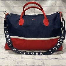 VTG Tommy Hilfiger Spell Out Canvas Weekender Duffle Bag Carry On Red White Blue