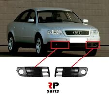 FOR AUDI A6 (C5) 1997 - 1999 NEW FRONT BUMPER FOGLIGHT GRILLE BLACK PAIR SET
