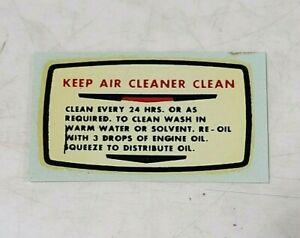 NOS CLINTON Gem Air Cleaner Engine Decal