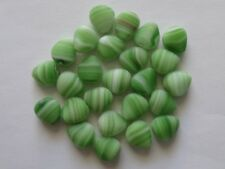 25 White/Green Czech Glass Triangle Jewellery Craft Beads 12x11mm