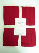 Williams Sonoma Double Hemstitched Linen Tablecloth 70 X 108 Red  NIP