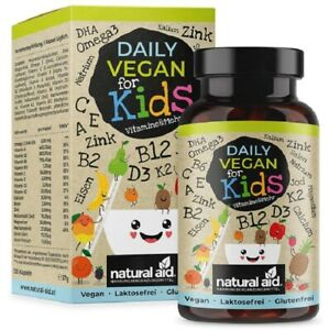 Daily Vegan Kids, Vitamine & mehr B12 D3 K2 Omega3 B2 B6 A  C  E Calcium Eisen