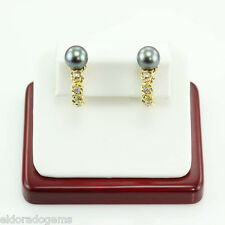 HIGH END! 10MM TAHITIAN PEARL & 0.16CT DIAMOND ART DECO EARRINGS 18K YELLOW GOLD