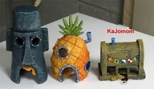SPONGEBOB EASTER ISLAND, PINEAPPLE HOME & KRUSTY KRAB AQUARIUM ORNAMENT HOUSES
