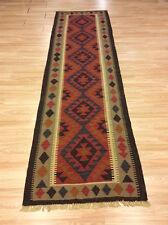 Genuine Afghan Handmade Rustic Maimana Wool Kilim XL Runner Rug 81x279cm 50 off