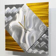 "Unique Metal Wall Clock Art Modern Silver Yellow Accent Decor 12.5"" Jon Allen"