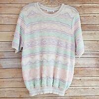 Vintage Devon Women's Sweater Pastel Striped Short Sleeve Pullover Crew Neck M