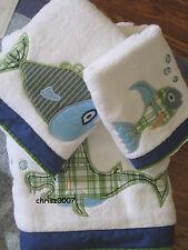 New Pottery Barn Kids Funny Fish Boy Blue Shark Towel Set! 3pc ~ Bath ~ Rare!