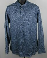 Ted Baker Blue & White Floral Long Sleeve Button Down Shirt Men's Size XL (5)