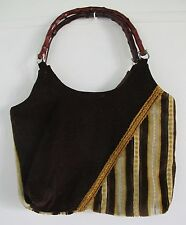 BAG Brown Fabric HANDMADE Bamboo Handles Tote Shopper 1970's VINTAGE Retro Smart