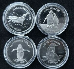 Falkland Islands 50p Penguins Complete Set 2020 4x Coins New UNC in Capsules
