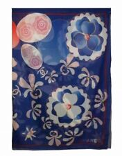 CHANEl Pareo Shawl Stole Scarf Blue Floral Cotton Silk Woman Auth New Unused