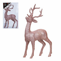 Glitter 26cm Standing Reindeer Stag Christmas Decoration - Rose Gold