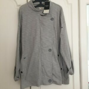 NEXT size 18  100% cotton grey soft unstructured jacket, roll up sleeves, BNWT