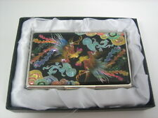 Slim Business Card Case  Stainless Colorful Pheonix Picture Mother of Pearl