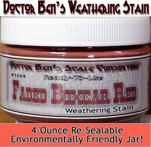 Faded Boxcar Red Weathering Stain-Doctor Ben's Wood Plastic Metal Resin oss9381