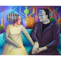"Tom Herbert ""FIRST DATE"" Original Acrylic Airbrush - Frankenstein and Girlfriend"