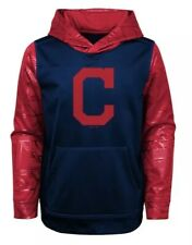 New NWT L/S Cleveland Indians Hoodie Sweatshirt Youth Boys Size L Large 16/18