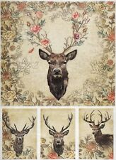Rice paper - Stags and Roses - for Decoupage Scrapbook Sheet