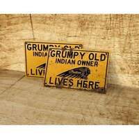 Grumpy old Indian Motorcycle owner lives here sign for garage, man cave