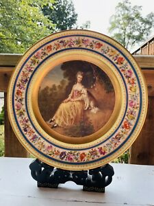 Royal Vienna Hand painted Portrait Cabinet Plate MRS. ROBINSON SIGNED