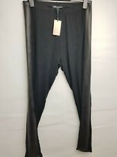 Womens Capsule Pu Leather Panel Black Comfy Stretch Leggings, Size 14 New