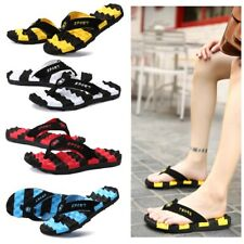 Flip Flops Men Striped Summer Casual Flat Sandals Outside Beach Rubber Slippers