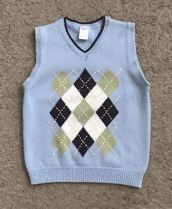 GYMBOREE Boys Youth Size 6 Sleeveless Argyle V Neck Sweater Vest 100% Cotton