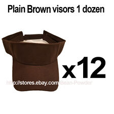 ***BROWN*** WHOLESALE LOT OF 12 PLAIN BLANK SOLID SPORTS SUN VISORS