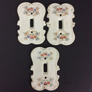 Original Arnart Creation Japan 3 Single Light Switch Covers Porcelain Floral
