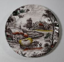"""2 Staffordshire Made in England YORKSHIRE MULTICOLOR 7-7/8"""" Salad Plates"""