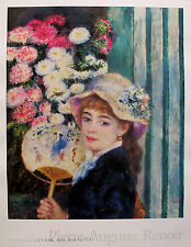 Pierre Auguste RENOIR Plate Signed Art Lithograph GIRL WITH FAN