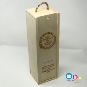 Personalised Wooden Wine Bottle Box, Engraved Champagne Christmas Gift