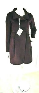 Cappotto Donna ENRICO COVERI Made in Italy D678 Viola Scuro Tg 50 (rrp 440€)