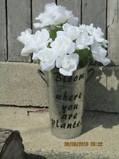 Home decor vase with fabric white flowers with inspirational saying