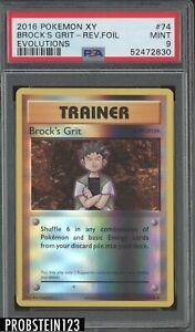 2016 Pokemon XY Evolutions #74 Brock's Grit - Reverse Foil PSA 9 MINT