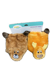 ZippyPaws - Squeakie Pads  - 2 Pack Bear And MoosePlush Dog Toy