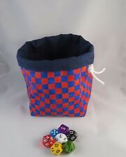 Blue Red Check Square Dice Bag - Reversible Drawstring Tile Pouch RPG Meeple D&D