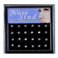 24pcs/Box Nez Strass Cristal Stud Bijoux Acier Boîte Nose Ring Piercing