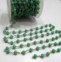 10 Ft AAA Quality Amazonite Rosary Chain 6mm Hydro Quartz Beads Rondelle Faceted