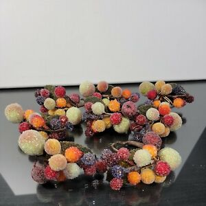 Set Of 8 Faux Fruit Berry Sugar Beaded Frosted Napkin Rings