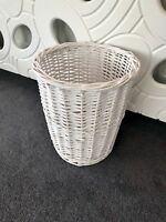 White Round Rattan Bambo Waste Paper Basket Rubbish Bin Home Office Bedroom