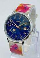 Ladies FOSSIL Vintage Muse Silver Tone Watch, Blue Dial, Date Floral Band ES9387