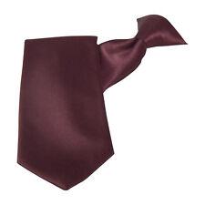 Burgundy Satin Clip-On Straight Tie