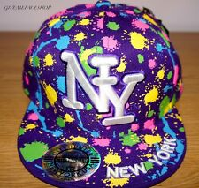 NY SPLASH FITTED CAP, PAINT BLING FLAT PEAK HAT, HIPHOP BASEBALL PURPLE BRIM
