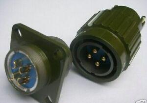 1pc Military Radio  Gold 4-Pin Twist Male Female Connector  Y2M4ZJ  +  Y2M4TK