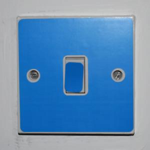 Blue Light Switch Sticker - Bedroom / Garage / Shed