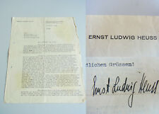 Ernst Ludwig Heuss (1910-1967): Signed Letter Berlin 1936, Lawyer Attorneys