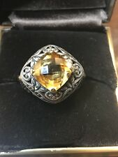 Estate Find Natural Citrine Sterling Silver 18k Yellow Gold