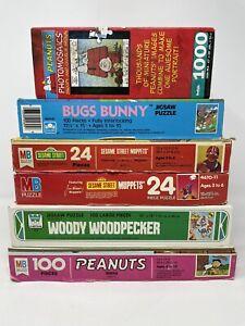 Vintage Peanuts Gang, Woody Woodpecker, Sesame Street, Bugs Bunny Puzzle Lot!